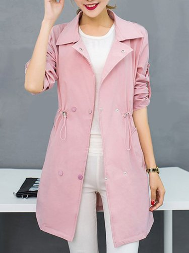 Lapel Double Breasted Drawstring Plain Roll-Up Sleeve Trench Coat