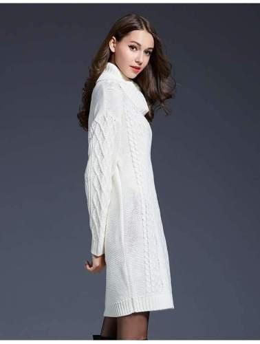 Plus Knit High collar Long sleeve Sweaters Dress