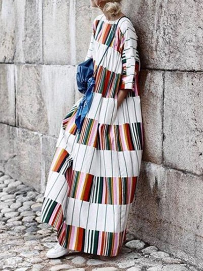 Bohemia Long Sleeves Striped Loose Woman Maxi Dress