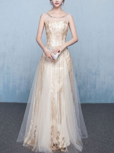 Sequined Contrast O-Neck Sleeveless Backless Long Prom Wedding Dress Evening Dresses