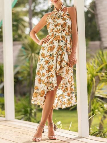 Floral Printed Condole Belt Bohemia Dress