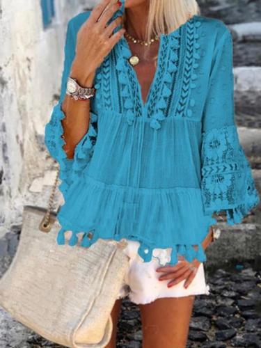Vintage v neck long sleeve top blouses