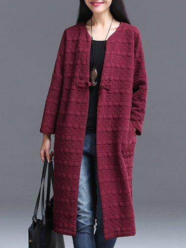 Collarless  Brocade  Long Sleeve Trench Coats