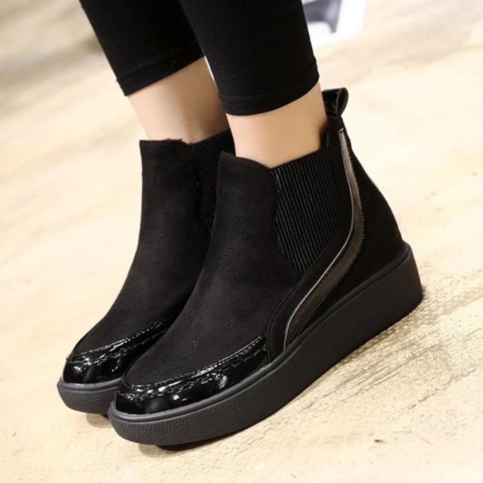 Color Block  Low Heeled  Velvet  Round Toe  Casual Flat Boots