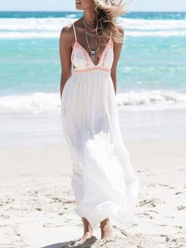 Split-joint V-neck Spaghetti-neck Backless Maxi Dress