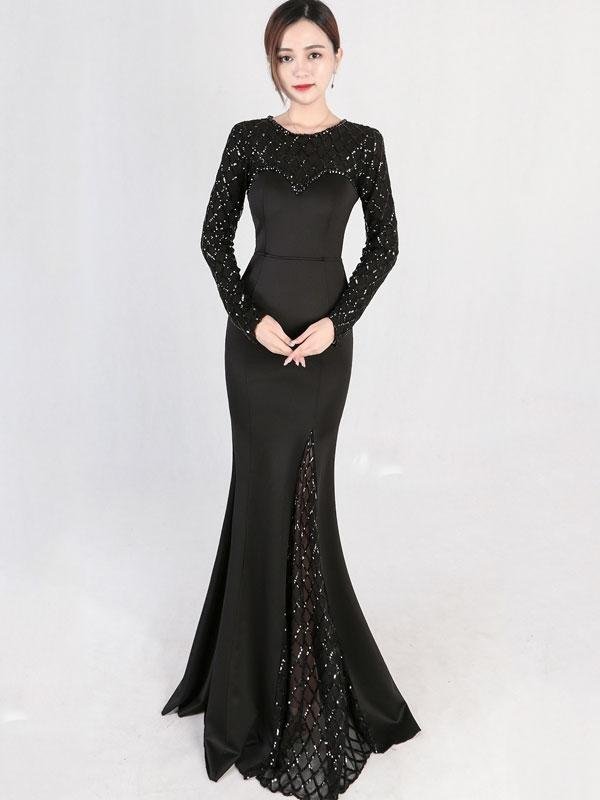 Sequined Contrast Plaids O-Neck Long Sleeves Sheath Backless Evening Dresses