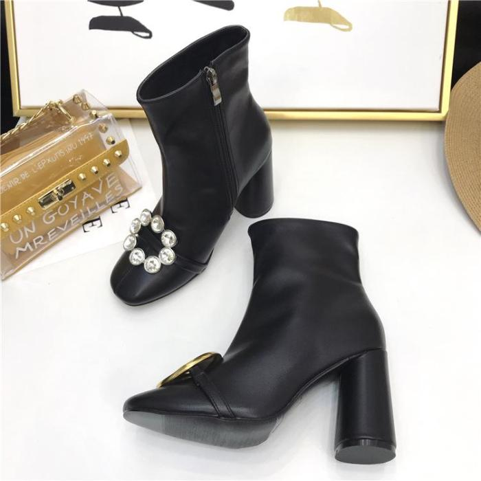 New Casual Chunky heels Couple Black Boots