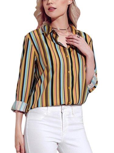 Fashion  Single-breasted Long sleeve  Multicolor Blouses