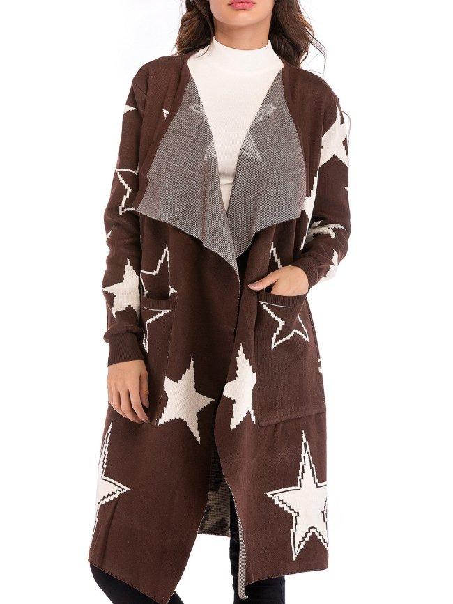 Floral Knitwear Long Casual Coats