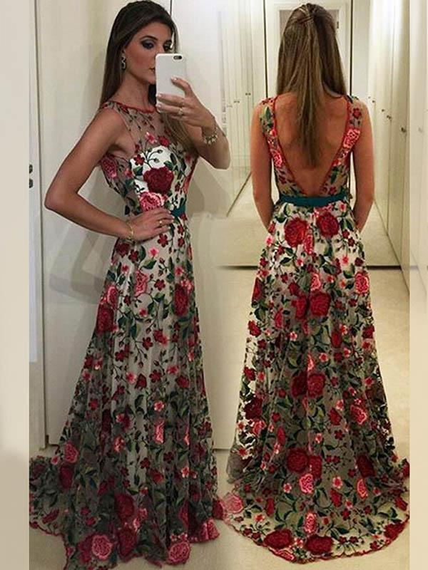 Floral Embroidery Sleeveless Maxi Dress Evening Dress