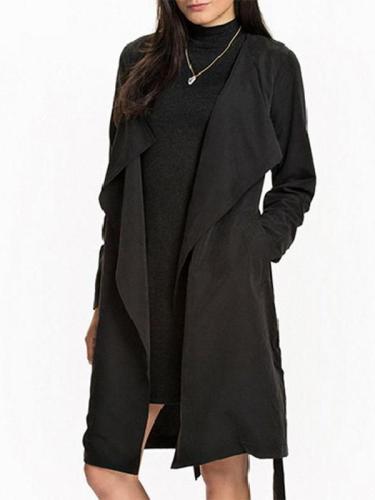 Fashion Long Sleeve Long Style Trench Coat