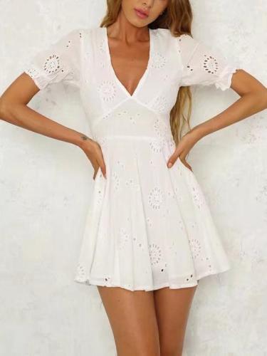Bohemia Hollow V-neck Mini Dresses