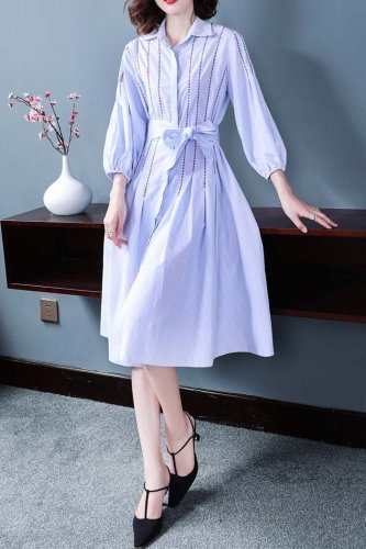 Stripe embroidered 3/4 sleeve hollow lantern sleeve A-line dress