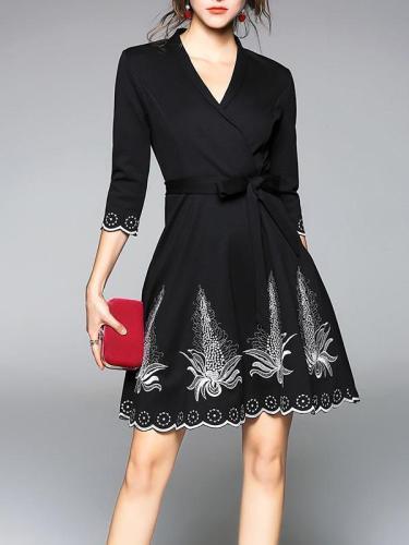 Waisted Embroidered V-neck Mini Dress