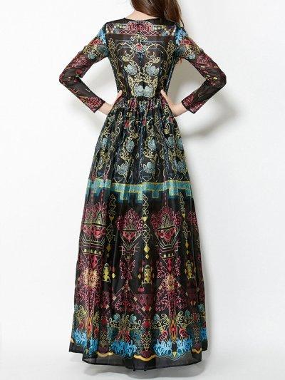 Long Sleeve Round Neck Black Printed Chiffon Maxi Long Dress Evening Dress