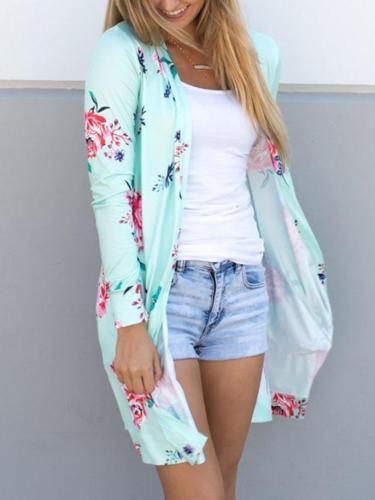 Floral Long Sleeve Midi Length Cardigan