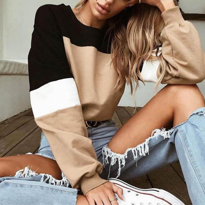 Round Neck Patchwork Long Sleeve Sweatshirt