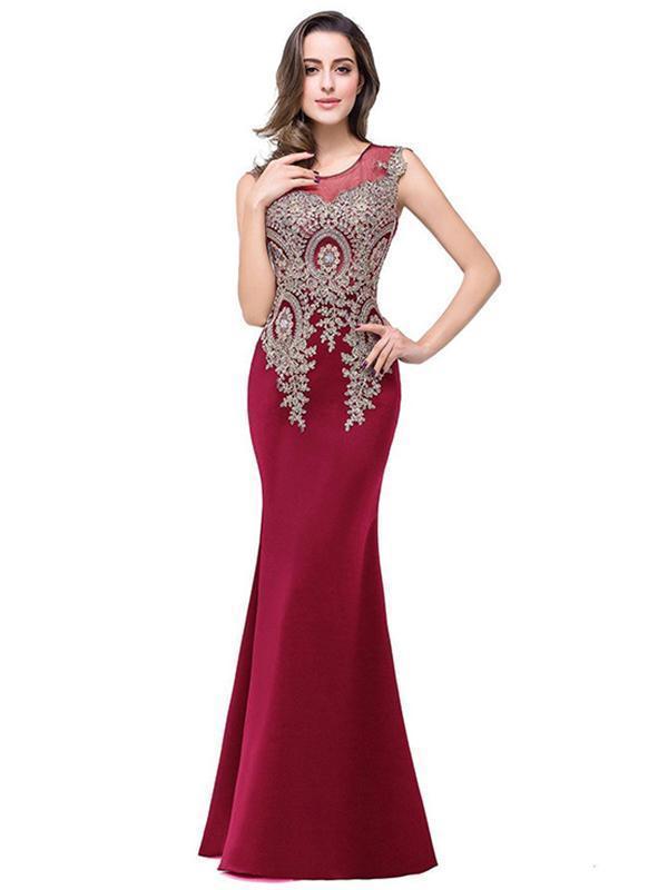 Pretty Round Neck Hollow Gold Thread Floor Evening Dress