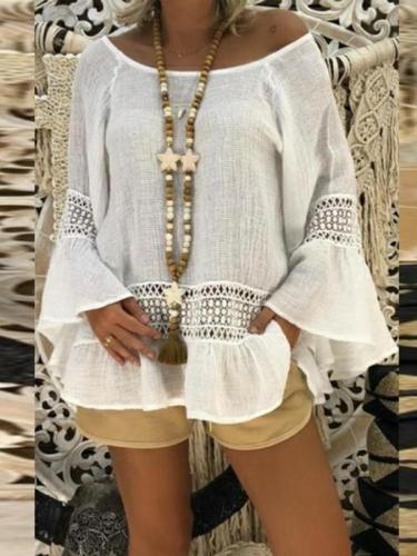 Round Neck Long Flare Sleeve Lace Patchwork Blouses