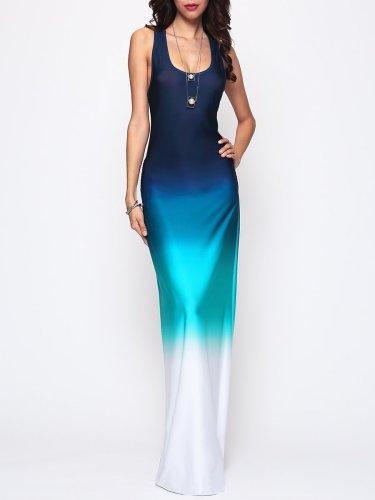 Gradient Chic Round Neck Maxi-Dress