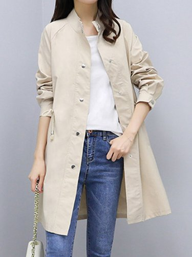 Drawstring Single Breasted  Plain  Long Sleeve Trench Coats