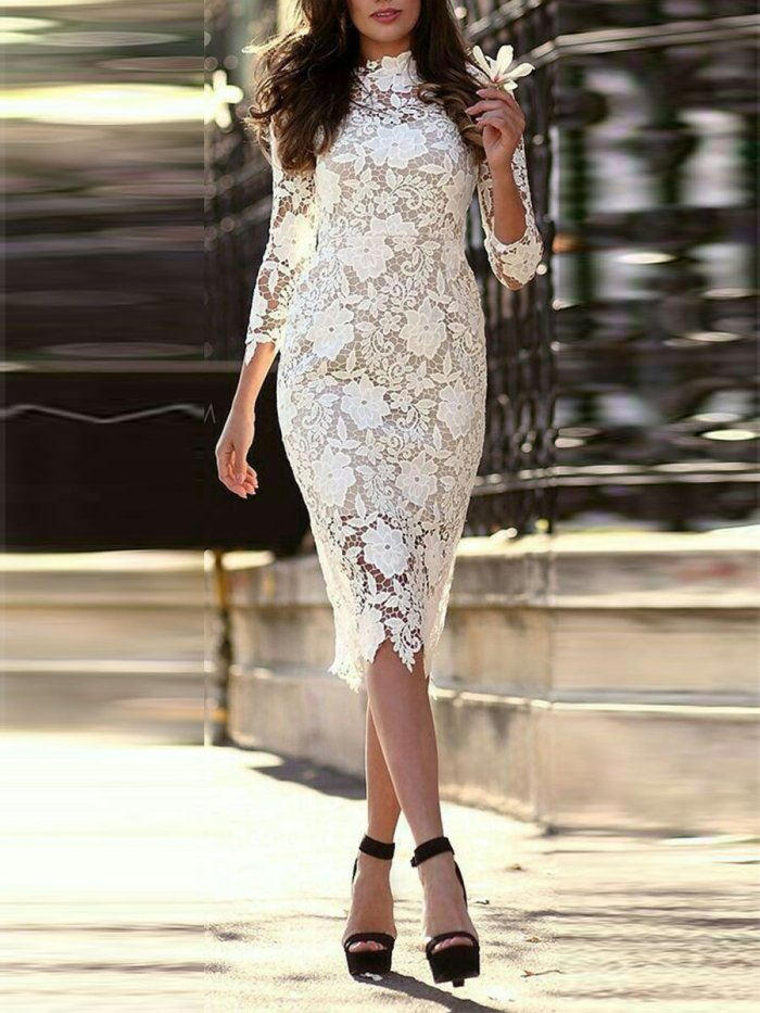 White Lace Woman Sexy Sweet Bodycon Evening Dresses