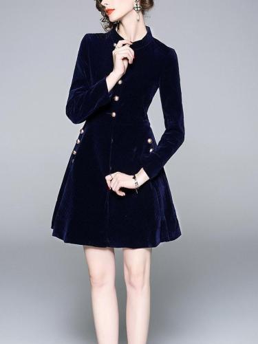 Autumn Half-high Collar  Long sleeve Skater Dresses