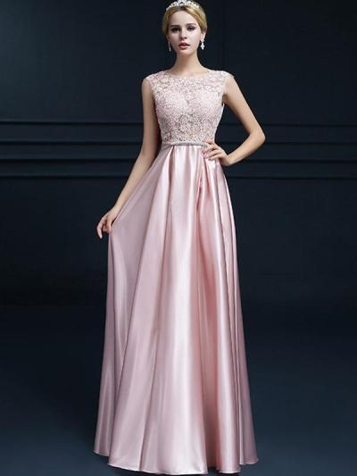 Bowknot Lace Contrast O-Neck Sleeveless Long Evening Dresses
