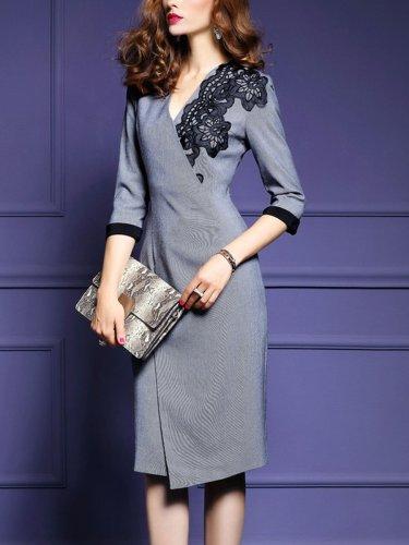V Neck Elegant Woman Bodycon Dress