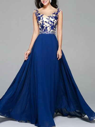 Embroidery Sequined Contrast O-Neck Sleeveless Backless Evening Dresses