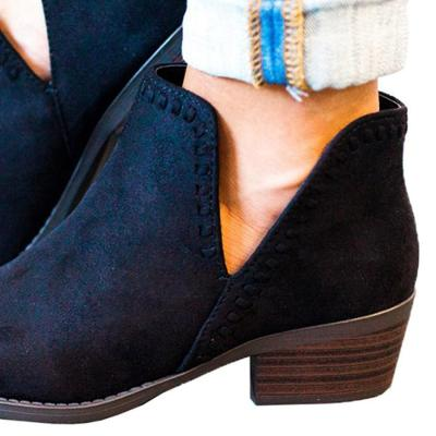 Plain  Low Heeled  Velvet  Point Toe  Outdoor Ankle Boots