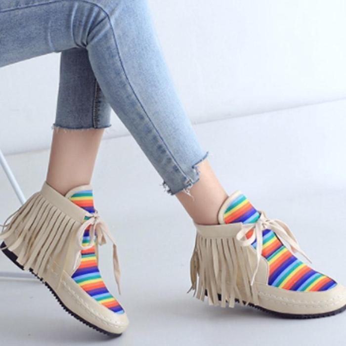 Women Autumn Rainbow Patchwork Tassel Casual Comfort Boots