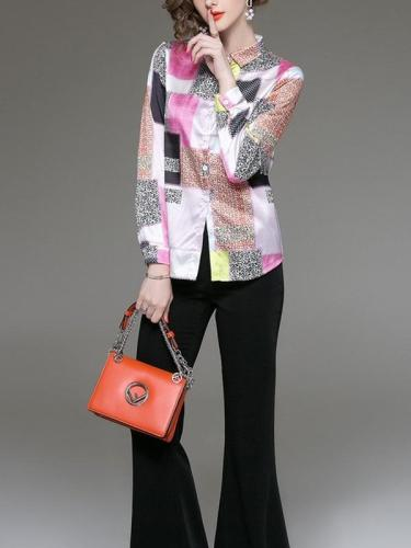 Floral  Polyester fiber  Long sleeve Fashion Blouses