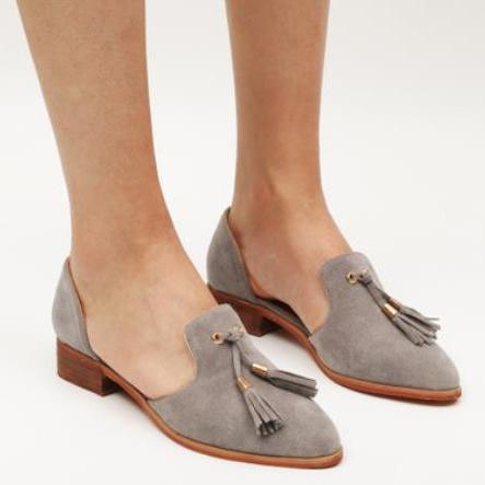 Fashion Plain Fringe Suede Upper Flat & Loafer