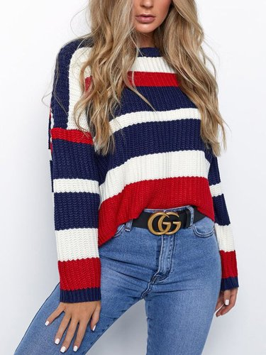 Colorful Woman Round Neck Long Sleeve Woman Fashion Sweater For Fall