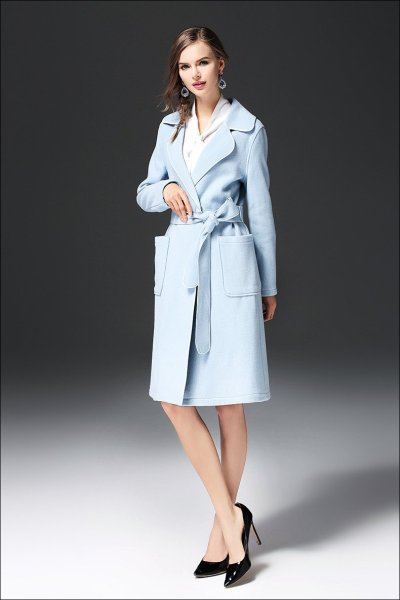 New Women Fashion Belt Long sleeve Double-faced Coats