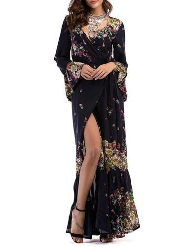 Printed Split-side V-neck Wrap Maxi Dress