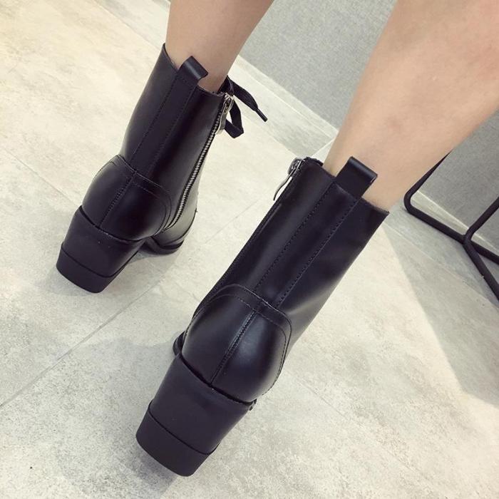 Fashion Chunky heel Pointed Toe Martin Boots