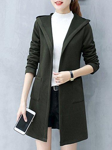 Hooded  Plain  Long Sleeve Trench Coats
