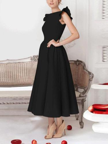 Elegant High End Plain Flouncing Sleeve Skater Dress