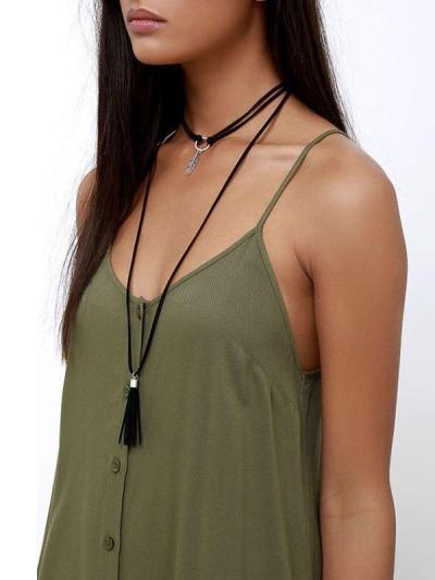 Solid Color Spaghetti-neck Maxi Dress