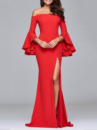 Split-side Flared Sleeves Evening Dress