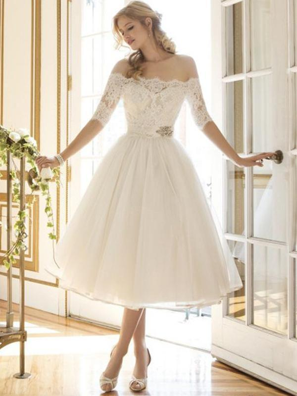 Girlish Sweetness Off-the-shoulder Evening Dress