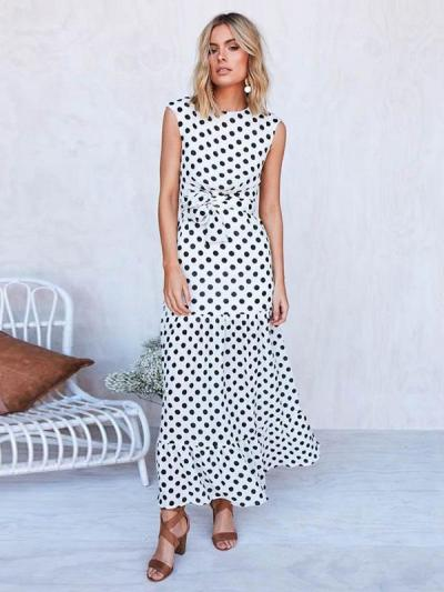 Pretty Dot Round-neck Maxi Dresses
