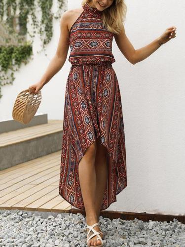 Bohemia Floral Asymmetry Halterneck Dresses