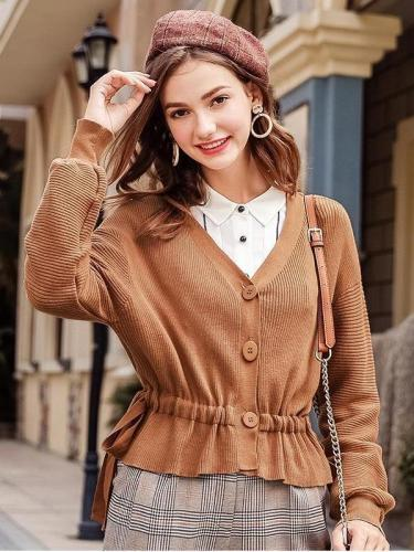 New Women Fashion V neck Cardigan
