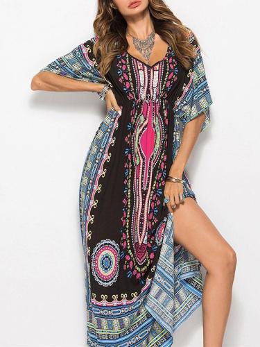V-neck Waisted Printed Maxi Dress