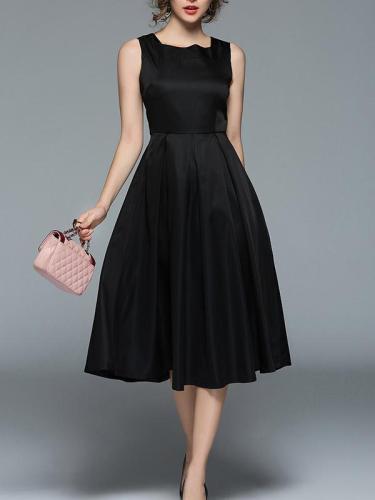 Black Waisted Sleeveless Midi Dress