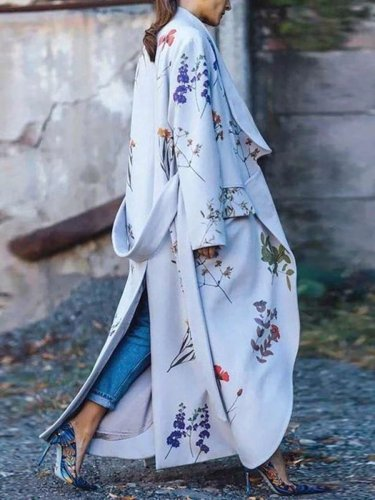 Casual Loose Print Belt Trench Coats