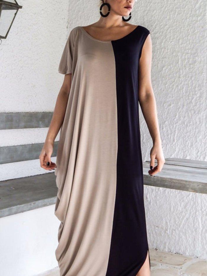One Shoulder  Patchwork  Color Block Maxi Dresses